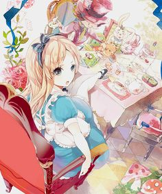 Alice in Wonderland Anime Girl Cutie Alice having tea - On anime kida - http://animekida.com/members/join