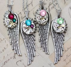 "Statement Necklace Steampunk Necklace Personalized Necklace Gift Crystal Necklace Wing Jewelry CUSTOM Birthstone Necklace  Unique Gift 24"" by inspiredbyelizabeth on Etsy https://www.etsy.com/listing/196970262/statement-necklace-steampunk-necklace"
