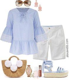 Plus Size White Shorts - Plus Size Outfit Idea - Plus Size Summer Shorts Outfit - Plus Size Fashion for Women - alexawebb.com #alexawebb