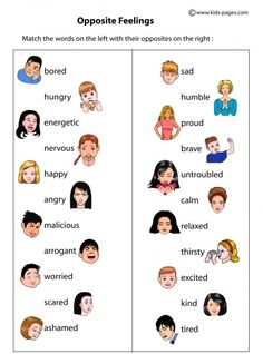 Opposite Feelings worksheets http://www.kids-pages.com/folders/worksheets/Opposites/FeelingsOpposites.pdf