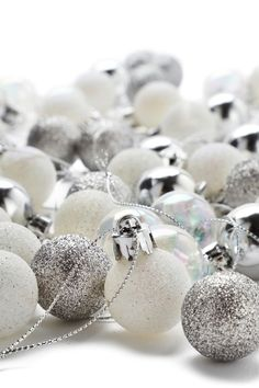 Set Of 49 Silver Mini Baubles from Next UK in silver sparkle and white