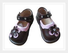 MAIA - We have to confess, the Maia Mary Jane is our favorite of the girls shoes. Not only is it brown with pink trim (which we love), but it's packed with such cute features. The pink/brown flower has a gemstone set in the middle, the feminine pink trim is scallop shaped, and the velcro fastened strap is loaded with more gemstones. Love it!