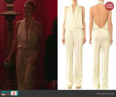 Phoebe's white halter neck jumpsuit on Girlfriends Guide to Divorce.  Outfit Details: http://wornontv.net/42460/ #GG2D