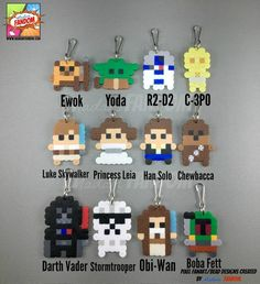 12 Star Wars Party Favors Zipper Pulls Keychains Star Wars Wedding Favors Darth Vader Stormtrooper Princess Leia Yoda - Star Wars Rings - Ideas of Star Wars Rings - 12 pcs Star Wars Party Favors Zipper Pulls Magnets or Pins Perler Bead Designs, Easy Perler Bead Patterns, Melty Bead Patterns, Hama Beads Design, Diy Perler Beads, Perler Bead Art, Beading Patterns, Hamma Beads 3d, Fuse Beads
