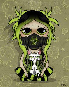 The End - A creepy cute girl wearing a gas mask. #toxic #gasmask #skulls #cat #bitstrange #kristiesilva #creepiecutie #lowbrow #lowbrowart #bigeyes #bigeyedart #creepycute #gothic #goth #dark #creepy #spooky