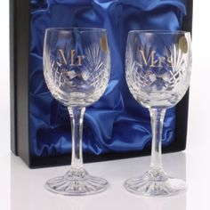 This stunning pair of Cut Crystal Mr & Mrs Personalised Wine Glasses makes a perfect gift for the Bride and Groom on their wedding day. The glasses are personalised with the couples surname.