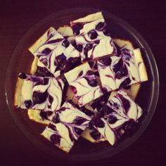 Beautiful Blueberry Swirl Cheesecake Bars
