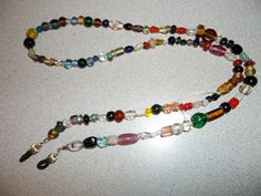 Glass Bead 28 inch eye glass holder necklace by Patrisha Black. OOAK EC1402 by RoseFireDesigns on Etsy