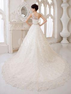 Vestido de noiva linha-A em renda um ombro sò com detalhe de pedras na cimtura - Milanoo.com