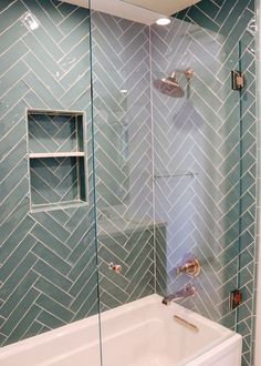 Stunning color contrast with copper fixtures against a stunning blue-green tile. #interiordesign #interiors #interiorstyling #homedesign #homestyling #homedecor #dreamhome #livingspaces #interiordecorating