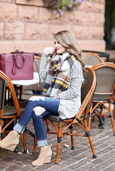 tans suede ankle boots, ripped/cuffed dark wash skinny jeans, wool cardigan, plaid blanket scarf, white shirt, maroon purse