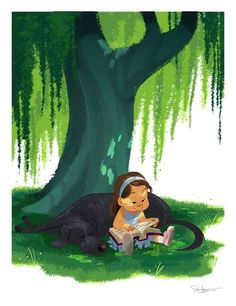 In the shade with reading / A la sombra con la lectura (ilustración de Dean Heezen)