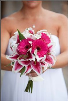 Image result for fuschia and white wedding bouquets