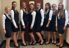 Staff In New Work Uniforms Best Uniforms, Work Uniforms, Female Soldier, Skirt Suit, Pencil Dress, Girls Wear, Gorgeous Women, New Work, Collars