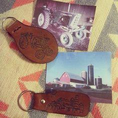 Burning the barn - leatherwork - custom keychain