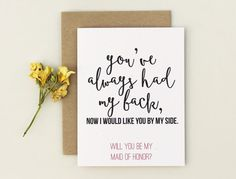 Will you Be My Bridesmaid Card, Bridesmaid Invitation, Brides maid Card Funny, Youve always had my back, now I need you by my side DETAILS <3 Card