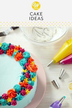 Wilton has the perfect cake decorating ideas for every occasion! These easy-to- ideas will help spark any bakers creative side, including ideas for wedding and birthday cakes! Cake Decorating Piping, Cake Decorating Designs, Birthday Cake Decorating, Cake Decorating Techniques, Cookie Decorating, Decorating Ideas, Round Birthday Cakes, Homemade Birthday Cakes, Homemade Cakes