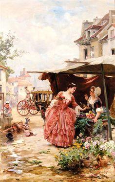 Louis Marie de Schryver -  Une Marchande de fruits et de fleurs
