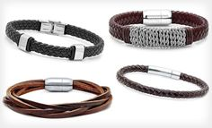 Men's Leather Bracelets (Up to 91% Off). 14 Styles Available. Free Returns. - Groupon