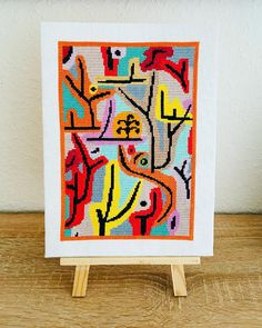 """Cross stitch pattern inspired by the painting """"Park bei Lu"""" from Paul Klee. PDF pattern available for immediate download. Cross Stitch Patterns, Abstract, Painting, Inspiration, Summary, Biblical Inspiration, Painting Art, Paintings, Painted Canvas"""