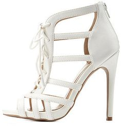Charlotte Russe Strappy Lace-Up Caged Heels