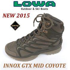 LOWA INNOX GTX MID COYOTE.  Nuovo scarponcino della collezione Military&Tactical con liner in Gore-tex, estremamente leggero, con una suola adatta a tutti gli scenari dell'Outdoor.  Taglio medio, altezza caviglia.  La tomaia in materiale sintetico d'alta qualità permette di ridurre il peso e renderle decisamente traspiranti .  La membrana in Goretex rende l'anfibio impermeabile e taspirante  Peso : 920gr/paio circa  E. 155,00