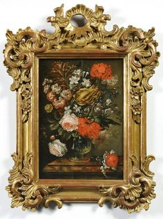 JAN KAŠPAR HIRSCHELY (1695-1743) - floral still lifes 1 Framed Wall Art, Framed Art Prints, Wall Canvas, Wall Pictures, Picture Wall, Still Life, Beautiful Things, Clock, Bronze