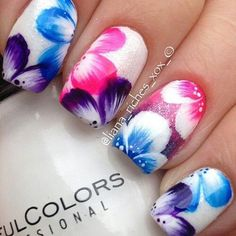 nice Flower-Nail-Art-Designs-Acrylic-Free-Hand-Floral-Nail-Art Discover and share you. Cute Nail Art, Beautiful Nail Art, Gorgeous Nails, Pretty Nails, Beautiful Flowers, Amazing Nails, Perfect Nails, Flower Nail Designs, Pretty Nail Designs