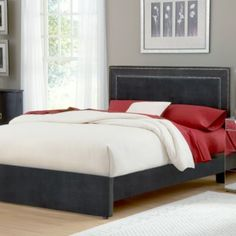 Hillsdale Amber Pewter Fabric Queen Bed Set - BedBathandBeyond.com