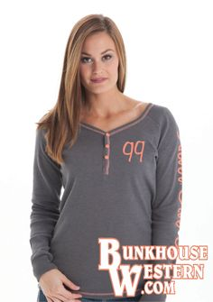 Thermal Long Sleeve, Long Sleeve Tees, Coral Accents, Cowgirl Tuff, Thermal Henley, Western Wear, Country Girls, Gray, Rodeo