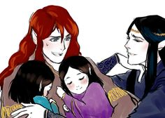 Maedhros and Maglor with Elrond and Elros