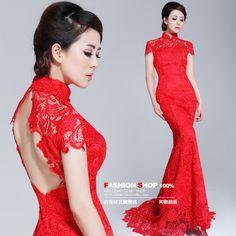 Jigme cheongsam lace red long design cheongsam qp662 train bride cheongsam-in Cheongsams from Apparel & Accessories on Aliexpress.com  $186.00