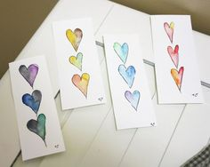 Watercolor bookmarks with hearts Watercolor Bookmarks, Watercolor Heart, Pen And Watercolor, Diy Bookmarks, How To Make Bookmarks, Bookmark Ideas, Book Making, Card Making, Heart Bookmark