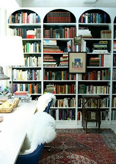 Home office with built-in bookshelves, Stylish and chic, Office organization, Reading room.