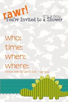 Last week I had a client contact me wondering if I had any dinosaur themed baby shower designs. Baby Shower Themes, Baby Boy Shower, Shower Ideas, August Baby, Sweet Child O' Mine, Baby Shower Invitations, Invitations Kids, Baby Birthday, Birthday Parties