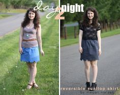 Reversible scallop skirt.  Great idea for making a scallop stencil from contact paper.