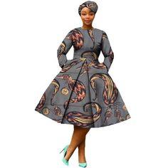 African Dress Women Full Sleeve Calf-Length Ball Grown Casual Dress with Scarf African Print Dresses, African Dress, Casual Dresses For Women, Casual Outfits, Shweshwe Dresses, Vestido Casual, Grown Women, Jeans Dress, African Fashion