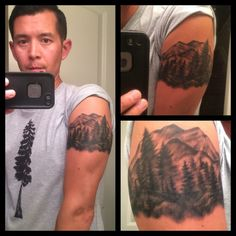 The cover up piece Jim Couturier did with the beautiful mountains and pine trees I requested! - Yelp