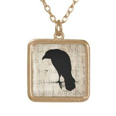 Shop Vintage Raven - Custom Goth Crows Ravens Gold Plated Necklace created by SilverSpiral. Gems Jewelry, Gothic Jewelry, Cute Jewelry, Vintage Jewelry, Jewelry Accessories, Handmade Jewelry, Domino Jewelry, Jewlery, Jewelry Box