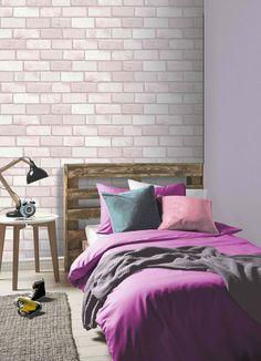 Arthouse Diamond Pink Brick Wallpaper 260005 - The Home Depot Brick Wallpaper Pink, 3d Brick Effect Wallpaper, Brick Pattern Wallpaper, Brick Wallpaper Bedroom, Stone Wallpaper, Glitter Wallpaper, Vinyl Wallpaper, Peelable Wallpaper, Wallpaper Designs