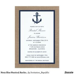 Navy Blue Nautical Anchor On Burlap Bridal Shower Card