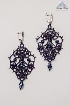 "Tatting earrings ""Cleopatra"" The French handmade lace"