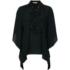 Michael Kors ruffled handkerchief hem shirt (11,555 CNY) ❤ liked on Polyvore featuring tops, black, flounce shirt, silk shirt, frilled shirt, flutter-sleeve tops and flounce top