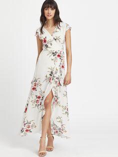 Vestido largo con abertura lateral escote V con estampado de calicó-Spanish SheIn (Sheinside. 16,37€)