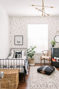 This Bright Houston Home Nails Modern Farmhouse Style Kingston's bedroom features wallpaper from Anthropologie. Room Design Bedroom, Room Ideas Bedroom, Home Room Design, Bedroom Kids, Big Boy Bedrooms, Bedroom Designs, Modern Bedroom, Wall Paper Bedroom, Bedroom Rustic