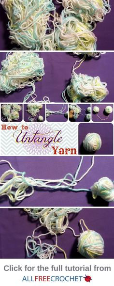 Learn how to untangle yarn! These yarn tips will show you, step-by-step how to detangle yarn in one of the best ways available. If you crochet, knit, or work with yarn a lot, then you know how often this problem can occur. Crochet Stitches For Beginners, Beginner Crochet Tutorial, Beginner Crochet Projects, Crochet Instructions, Crochet Stitches Patterns, Crochet Designs, Crochet Tutorials, Crochet Ideas, Knit Stitches