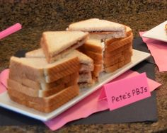 Pete's PBJs...Maybe cut them into minnie mouse heads...hmmm.