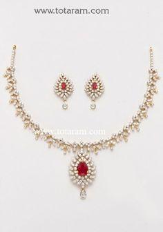18K Gold Diamond Necklace & Earrings Set with Ruby & Onyx: Totaram Jewelers: Buy Indian Gold jewelry & 18K Diamond jewelry