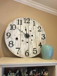 Rustic repurposed wood spool clock!