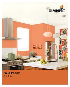 Paint color inspiration for an orange kitchen! A warm orange can draw you into a room to make it feel more intimate. Field Poppy orange exudes energy and stimulates activity, making it a good choice for socializing spaces like kitchens.